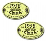 PAIR Distressed Aged Established 1958 Aged To Perfection Oval Design Vinyl Car Sticker 70x45mm Each